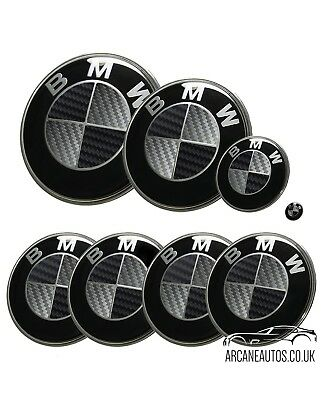 FOR BMW Carbon Fibre Black & Dark Grey Badge Decals Wrap Sticker ALL MODELS