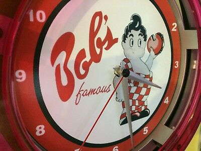^^^Bob's Big Boy Restaurant Kitchen Diner Man Cave Neon Wall Clock Sign