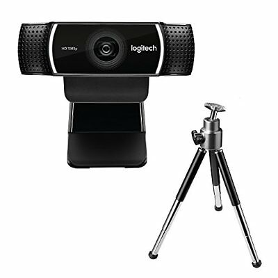 Logitech C922 Pro Stream Full HD Webcam with Mic and Adjustable Tripod Works wi