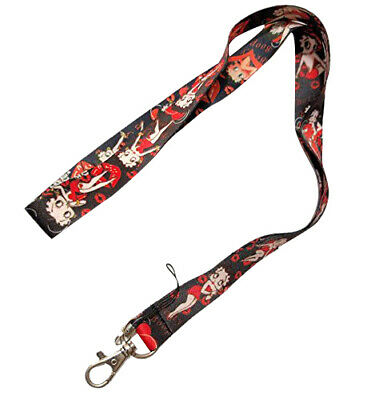 Betty Boop Black Red Kiss Keychain Holder Lanyard