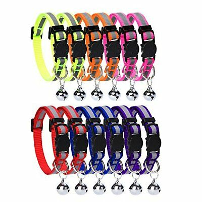 12 PCS Cat Collar Set Breakaway with Bell Reflective Strap  Safety Buckle, Adju