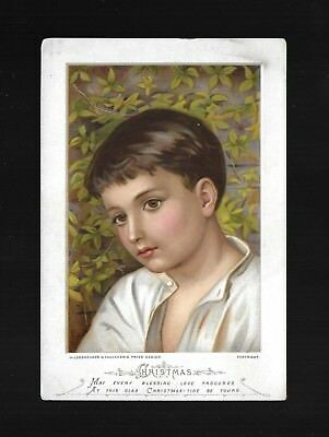 Gorgeous Brown-Eyed Boy-1880s Victorian Christmas Trade Card