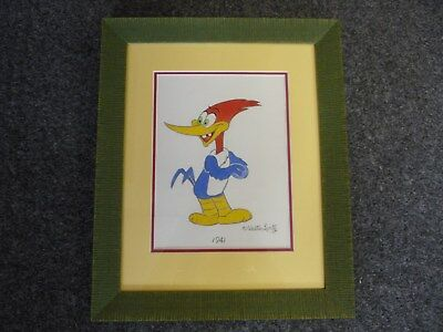 WOODY WOODPECKER Signed by Walter Lantz Framed Drawing of Woody in 1941
