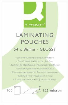 Q-Connect 125 Micron Laminating Pouch, 54 x 86 mm - Pack of 100