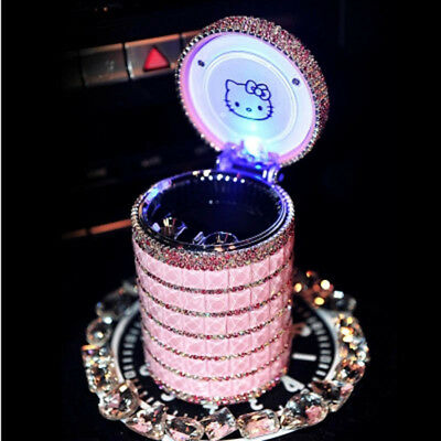 Portable Car Ashtray with a Led Light Hello Kitty Accessories for Girls & Women