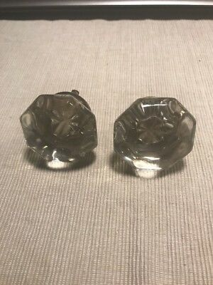 Rare Vtg Antique Pair Glass Door Knob Clear Crystal Round Set Victorian Salvage