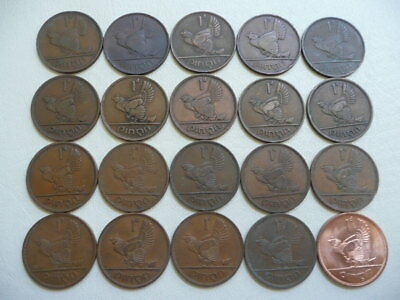 Lot of 20 Different Dates Irish One Penny Animal Coins of Ireland (no 1940)