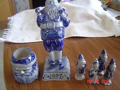 Rowe Pottery Santa(1997), Santa Head and 4 small Santa's