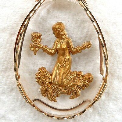 Intaglio Flower Child Cameo Pendant 14K Rolled Gold Jewelry Clear Resin