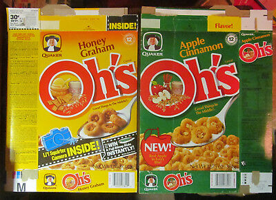 2 boxes Quaker Honey Graham Oh's + Apple Cinnamon Oh!s cereal box 1988 1980s 80s