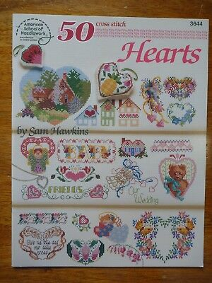 American School Of Needlework Cross Stitch Pattern Book 3644 - 50 Hearts Designs