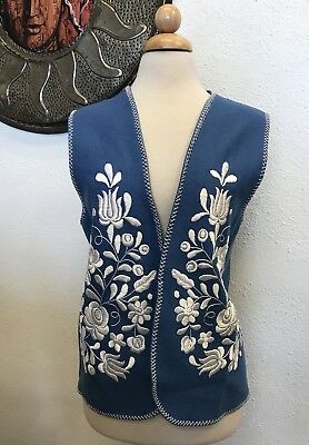 Vintage 70's hippie boho folk art floral embroidered wool felt vest,Mexican
