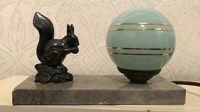 Table Lamp Mood Art Deco Squirrel Figure Stunning Marble Light Desk Retro Vintag