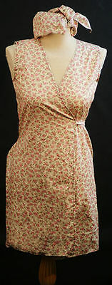 World Book Day-1940s- Ladies PINK FLORAL WRAP AROUND PINNY & HEADSCARF All Sizes