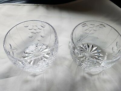 Pair of Cut Glass Dishes Bon Bon Tea Light Dessert Flowers and Stripes