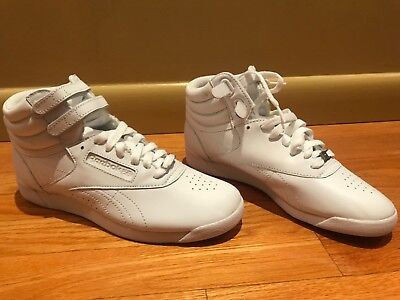 fd4ea9191c REEBOK NEW WOMEN'S Freestyle Hi high top Shoes sneakers white leather US 8