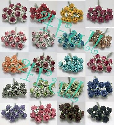 10 mix color Mulberry Paper Rose Flower handmade size 1 cm.(10mm) with wire stem