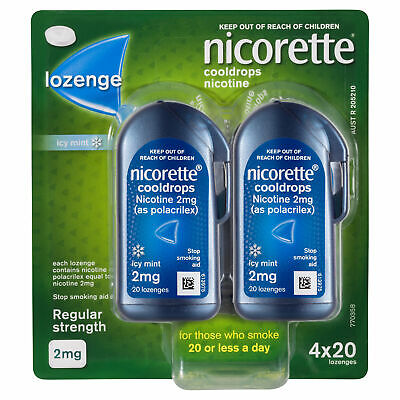 Nicorette Cooldrops Lozenge 2mg 80s Smokers Aid Nicotine Replacement Therapy