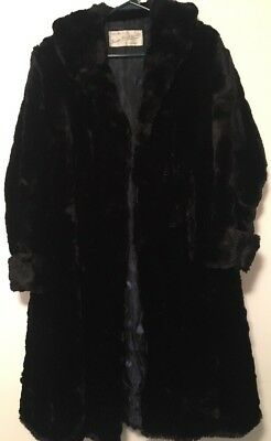 Vintage Long Black Women's Fur Coat By Gordon Ward Furs Ltd. Toronto, Canada