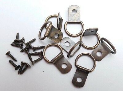 Picture D Rings Bronzed With Screws 28mm x 17mm Canvas Hooks Craft Hangers