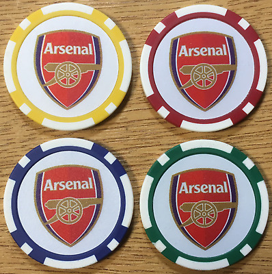 ARSENAL Poker Chip Golf Ball Markers Red Yellow Green Blue Gunners Poker Chips