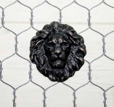 Large Oil-Rubbed Bronze Lion Head Stamping (1) - ORBSG7856