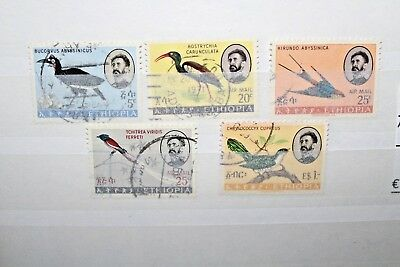 "Francobolli Etiopia ""uccelli Fauna Natura Personaggi"" Used Lot (Cat.z)"