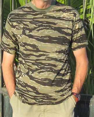 """Tiger Stripe Camo Short Sleeve T-Shirt Top - Military Army Style  - 32-46"""" Chest"""