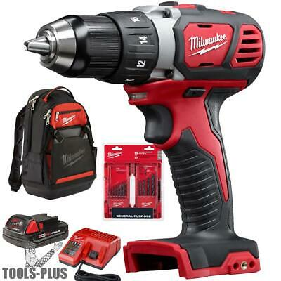 "Milwaukee 2606-21BP M18 Compact 1/2"" Drill Driver Kit w/Bit Set and Backpack New"