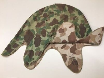 USMC KOREAN WAR Reversible M-1 Helmet Cover 1953 WWII Foliage Slits Blue  Anchor