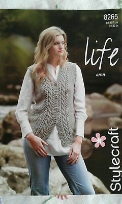 Stylecraft Knitting Pattern 9142 Ladies Lacy Sweater /& Cardigan Aran 30-48/""