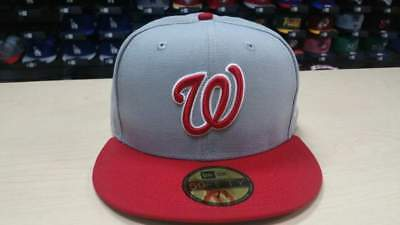 ab09a1b1424 New Era MLB Washington Nationals 2 Tone Gray Red 59FIFTY Fitted Cap Hat  NewEra