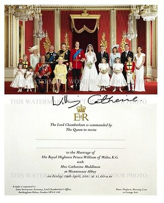 Prince William & Catherine Kate Middleton Royal Wedding Photo Invite Signed Rpt