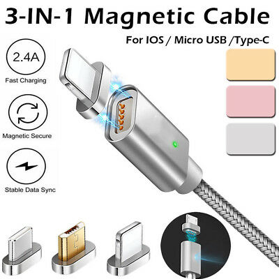 3in1 2A Magnetic Micro/IOS USB Type C Fast Charger Data Cable for Android iPhone