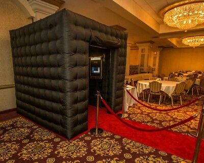 Black Inflatable 7.8ft Cube Photo Booth Tent 2 Doors Photobooth with Door Covers