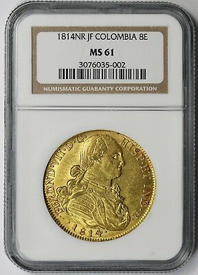 1814 NR JF Colombia 8E Gold MS 61 NGC 8 Escudos