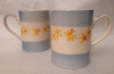2 x LAURA ASHLEY HAND PAINTED DAFFODILS MUGS CUPS COFFEE TEA FLOWERS