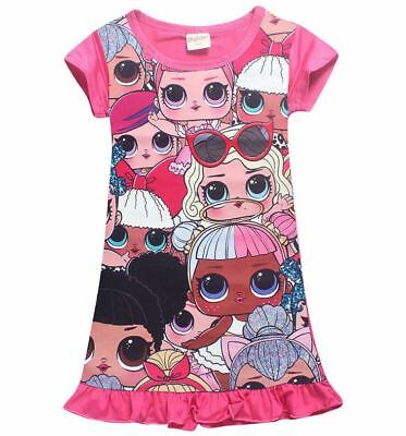 Girls Pink L.O.L Lol Surprise Doll Dress Short Sleeve Summer Nightgown Size 3-10
