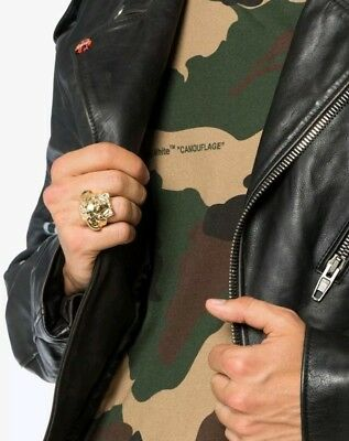 18ct Versace Style Medusa Gold Luxury Iced Out Gold Plated Men's Ring