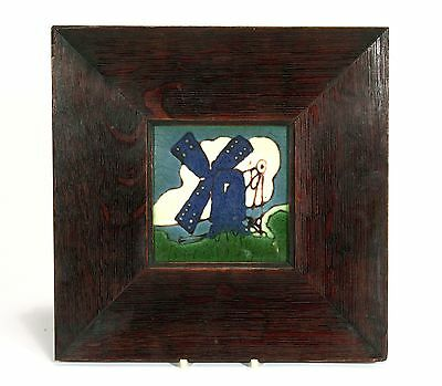 Grueby Pardee Pottery windmill tile matte green landscape clouds Arts & Crafts
