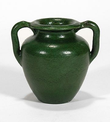 Merrimac Pottery 2 handle urn shape vase arts & crafts matte green feather glaze