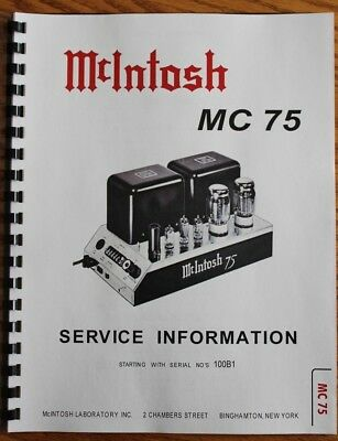 usa ultimate mcintosh mc75 service manual tube amp 15 00 picclick rh picclick com McIntosh MX110 Review mcintosh 240 service manual