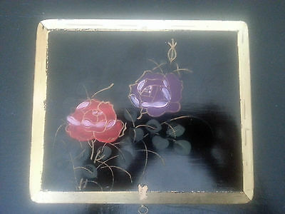Vintage Japanese Lacquer Wooden Black Box, with Roses and Gold Trim, 1900-1940