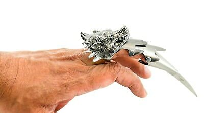 "Wolf Head 6"" Iron Reaver Claw Steel Alloy Blade Blackened Finger Calw Silver"