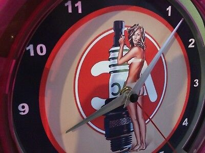 ^^^AC Delco Nude Pin-Up Girl Spark Plugs Garage Man Cave Neon Wall Clock Sign