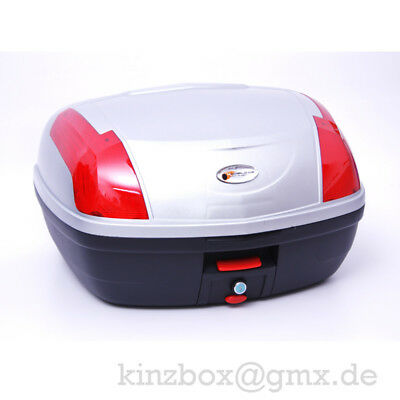 Top Case Koffer 058 SILBER Quad Motorrad Roller TopCase Abnehmbar Rollerkoffer