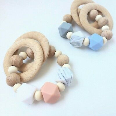 Teething Ring Teether Sensory Baby Silicone Rattle Wood Name Personalised Gift