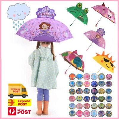 Kids Umbrella 3D Hello Kitty Frog Sunny Sofia Raincoat Boys Girls 37x Variations