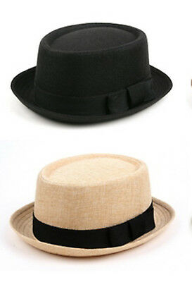 New Wholesale 12X Porkpie Straw Fedora Hats Natural & Black #508HF-12