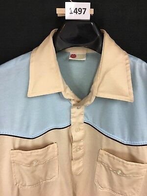 30f0d0490fc Vintage 70 s Sears Kings Road Polo Shirt Disco Blue Beige Mens Large Looks  New